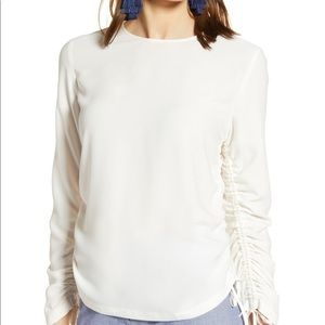 NWT Nordstrom Halogen Ivory Cinched Sleeve Blouse